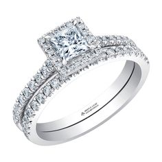 Canadian Square Princess Cut Diamond with a Diamond Halo and Diamond Pave Shank with a Matching Diamond Wedding Band
