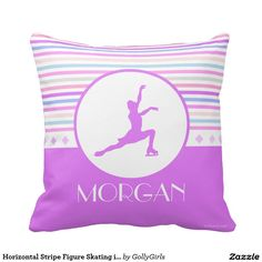 Horizontal Stripe Figure Skating in Pastel Colors Pillow
