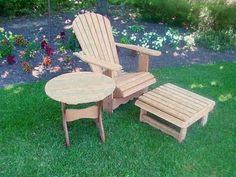 Single Royal Adirondack Patio Set   Unstained Clear Cedar