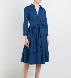 Купить Платье. Платье рубашка, длинное платье ниже колена, темно-синее платье