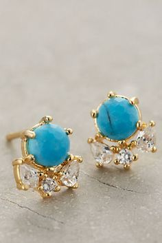 at anthropologie Serpa Cluster Posts turquoise Jewelry Box, Jewelry Accessories, Fashion Accessories, Fashion Jewelry, Women Jewelry, Jewelry Design, Coral Jewelry, Small Earrings, Women's Earrings