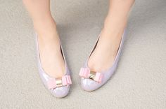 pastel bow flats