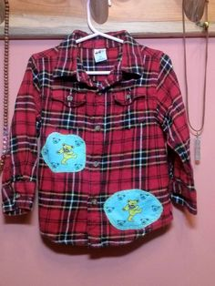 Get Down Upcycled Button Down, Plaid Flannel childrens Grateful Dead Dancing Bears Shirt, Size 4T for boys or girls by jamnjellybeans on Etsy