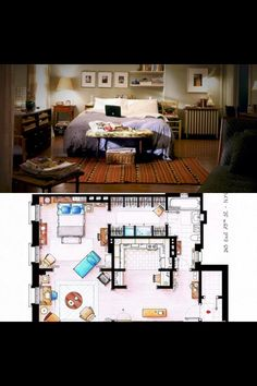 Carrie Bradshaw's apt blueprint http://www.1000thingsnyc.com/carrie-bradshaw-house/