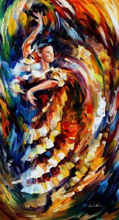 Leonid Afremov.. Passionate Flamenco  Beautiful use of colors and movement.