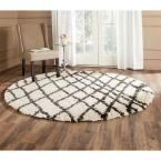Belize Shag Ivory/Charcoal (Ivory/Grey) 6 ft. 7 in. x 6 ft. 7 in. Round Area Rug