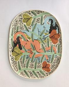 Relaxing Girls Large Plate - Laura Bird