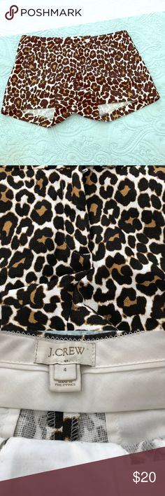 J Crew Shorts J Crew leopard print-black, ,brown, cream. Cotton with a bit of stretch. 3inch inseam. Like new. Shorts