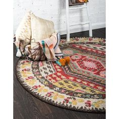 Unique Loom Sedona Collection Over-Dyed Tribal Geometric Multi Round Rug 0 x Decor, Rugs, Multicolored Rugs, Buy Rugs, Funky Home Decor, Carpet Colors, Home Decor, Bed Bath And Beyond, Round Rugs