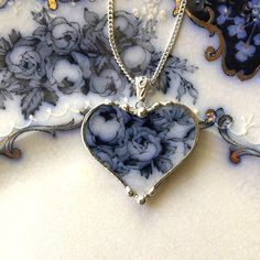 Dishfunctional Designs The original contemporary jewelry handcrafted from broken vintage china... Artist made broken china jewelry heart