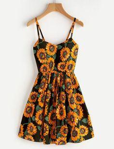Sunflower Print Random Crisscross Back Cami Dress #camidress