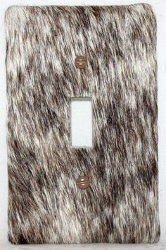 Leather hair on cowhide western decor single switch plate cover 2755