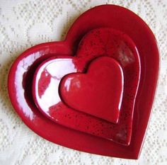 Ceramic Heart Dinnerware ~ Red
