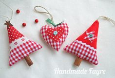 2 Cinnamon Red Fabric Christmas Trees  1 Heart