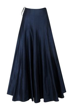 This set features a navy blue flared kalidaar kurta in georgette base with floral embroidery on the front yoke, back and sleeves. It has cutouts on the sides. It is paired with matching navy blue raw silk lehenga skirt. Source by panachehautecouture Raw Silk Lehenga, Lehenga Choli, Lehenga Skirt, Lehnga Dress, Long Skirt Fashion, Fashion Dresses, Silk Dress, Dress Skirt, Silk Skirt