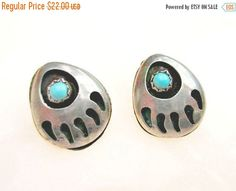 Sterling Bear Claw  earrings  Turquoise by serendipitytreasure