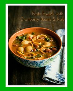Pasta Fagioli with Cranberry Beans and Kale, looks delicious  http://blog.fatfreevegan.com/2014/11/pasta-fagioli-with-cranberry-beans-and-kale.html #fatfreevegan #pastafagioli #kale #cranberrybeans #plantstronghealthandfitnesswithmelanie