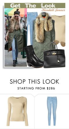 """""""Get The Look: Kendall Jenner"""" by hamaly ❤ liked on Polyvore featuring Dolce&Gabbana, 7 For All Mankind, Yves Saint Laurent, Sandro and Hermès"""