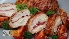 Baconös töltött csirkemell barbecue szósszal - Csirkemell receptek elkészítése - Recept Videók Mozzarella, Food And Drink, Pork, Turkey, Meat, Chicken, Recipes, Minden, Drinks