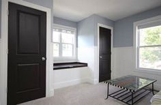 Dark doors with white trim Living Room Designs, Living Spaces, Dark Doors, Home Decor Inspiration, Design Inspiration, Decor Ideas, Diy House Projects, Upper Cabinets, Decorating On A Budget