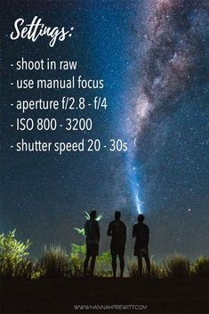 Star photography settings for beginners wanting to learn night photography. Camera settings and tips for star photography. Milky Way Photography, Dslr Photography Tips, Star Photography, Photography Challenge, Photography Lessons, Photography For Beginners, Photoshop Photography, Night Photography, Digital Photography