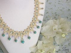 Turquoise Lace Beadwork Necklace