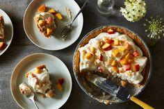 Okay, okay, ready? Ritz cracker crust. Butterscotch pudding. Peaches. Whipped cream.