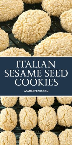 Sesame Seed Cookies - A Family Feast® Italian Sesame Seed Cookies are the perfect sweet treat to serve with a cup of coffee or espresso.Italian Sesame Seed Cookies are the perfect sweet treat to serve with a cup of coffee or espresso. Italian Sesame Seed Cookies, Italian Cookies, Sesame Seed Cookies Recipe, Italian Biscuits, Italian Cookie Recipes, Italian Desserts, Italian Christmas Cookies, Christmas Baking, Sesame Seeds Recipes
