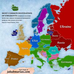 Check out this map of Europeans' favourite destinations to emigrate to.