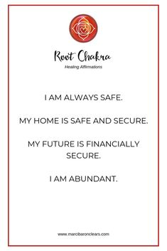 Our Root Chakra represents our foundation and feeling of being grounded. These 20 affirmations will heal your Root Chakra and raise its vibration. Chakra Healing Meditation, Throat Chakra Healing, Sacral Chakra, Healing Affirmations, Positive Affirmations, Quotes Positive, Positive Life, Mantra, Finding Happiness