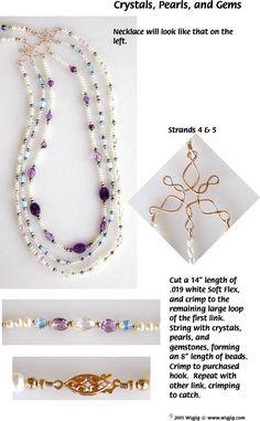 Perles cristal, perles et pierres précieuses Fil et collier de perles faites avec WigJig outils de fabrication de bijoux et de fournitures de bijoux.