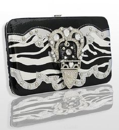 White and Black Zebra Print Western Style Buckle Wallet  #HBM #Clutch