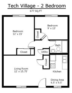 2 Bedroom House plans 1000 Square Feet | 1000 square feet, 2 ...