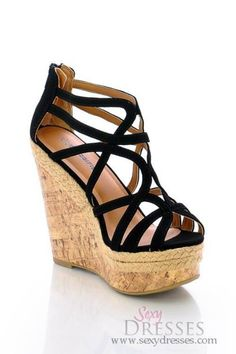 Stylish Black Strappy Toe Wedges