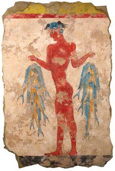 The Fisherman Fresco from Akrotiri Greek Village  during the Minoan Bronze Age
