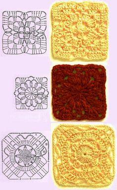 Crochet squares for blankets Crochet Motif Patterns, Granny Square Crochet Pattern, Crochet Blocks, Crochet Diagram, Square Patterns, Crochet Chart, Crochet Squares, Crochet Stitches, Knit Crochet