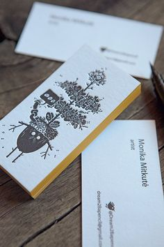 Cartes de visite 1 couleur recto verso sur papier 500g / letterpress business cards in black with edge-painting: