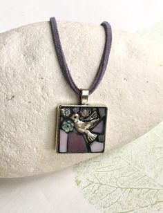 Your place to buy and sell all things handmade Hummingbird Necklace, Peace Dove, Homemade Jewelry, Gifts For Mum, Christian Gifts, Glass Jewelry, Leather Cord, Handcrafted Jewelry, Mosaic