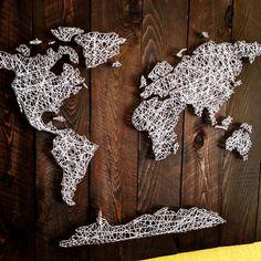 MONDE String Art noyer foncé plu par nidify sur Etsy