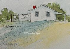 RoseAnn Hayes Miniature Watercolors: Laundry Day in the Country Original Watercolor Painting