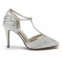306adf30ae Elspeth by Rainbow Club | Dyeable Ivory Satin and Gold T-Bar Wedding Shoes T
