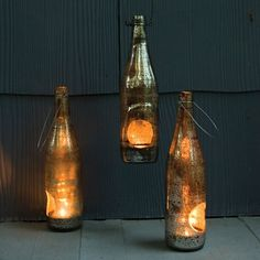 Bottle Lantern, $24, made from re-purposed beer bottles washed with an irregular antique silver finish