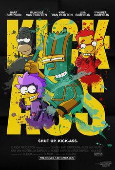 Cartazes de filmes inspirados nos Simpsons.