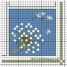 dandelion cross stitch pattern free blow me Kawaii Cross Stitch, Tiny Cross Stitch, Cross Stitch Cards, Cross Stitch Flowers, Cross Stitching, Cross Stitch Embroidery, Embroidery Patterns, Modern Cross Stitch Patterns, Cross Stitch Designs
