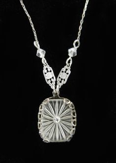 Vintage Art Nouveau Deco Camphor Glass Filigree Necklace Lovely in Jewelry & Watches   eBay