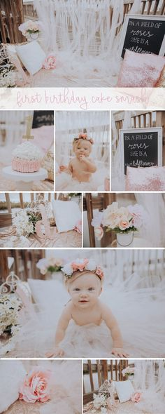 First Birthday Cake Smash - Baby girl - Daisy - Floral, flowers, pink, tulle, sparkle, glam