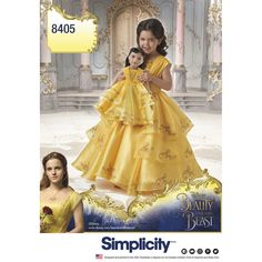 """Relive the beautiful tale of Beauty and the Beast with this child's live action Belle costume and matching costume for her 18"""" doll."""