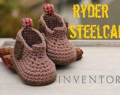"""Construction Boot Baby Boys Crochet Boot Pattern, Steelcap """"Ryder Boot"""", workboot, crochet boots, pattern for crochet booty PATTERN ONLY"""