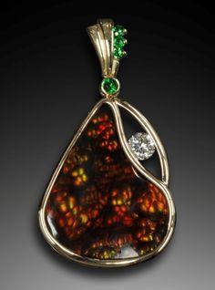 fire agate, garnet & diamond pendant    Simply Unique Jewelry Designs