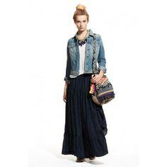 Ziabird Navy Lourdes Silk Parachute Skirt